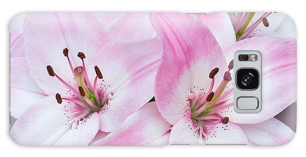 Pink And White Lilies Galaxy Case by Jane McIlroy