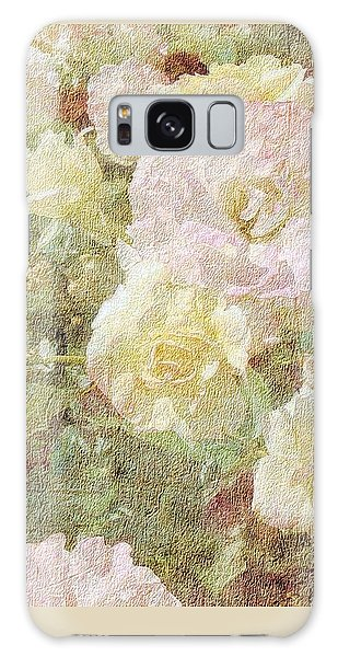 Pink And White Roses With Tapestry Look Galaxy Case