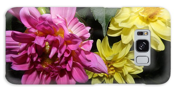 Pink And Yellow Dahlia's Opening No. Cc62 Galaxy Case