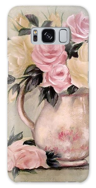 Pink And Yellow Roses In Teapot Painting Galaxy Case