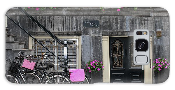 Pink Bikes Of Amsterdam Galaxy Case by Mary-Lee Sanders