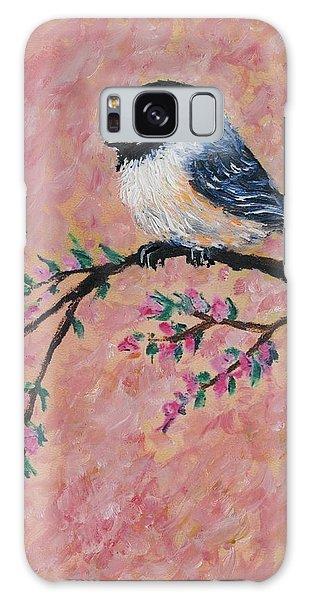 Pink Blossom Chickadees - Bird 2 Galaxy Case