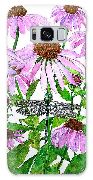Pink Cone Flowers And Dragonfly Galaxy Case