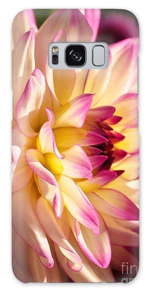 Pink Cream And Yellow Dahlia Galaxy Case by Olivia Hardwicke