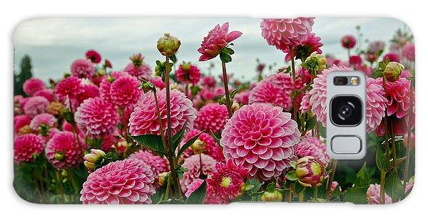 Pink Dahlia Field Galaxy Case