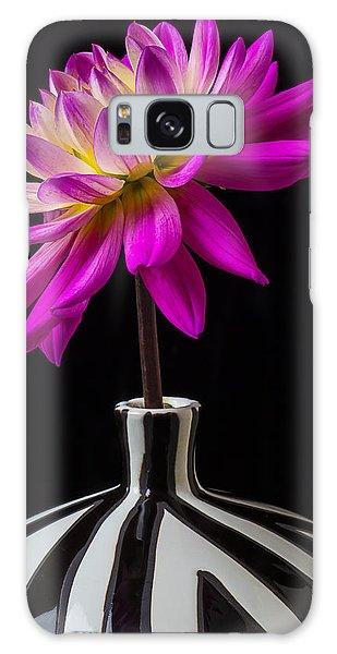 Pink Flower Galaxy Case - Pink Dahlia In Striped Vase by Garry Gay