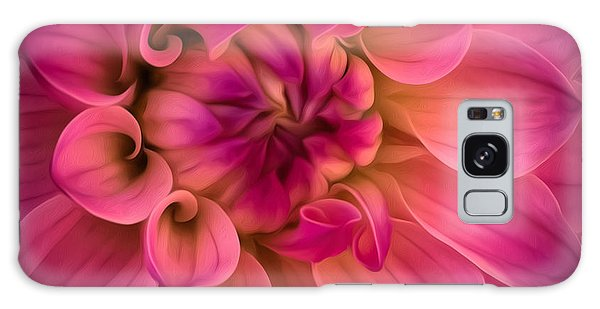 Pink Dahlia Galaxy Case by Linda Villers