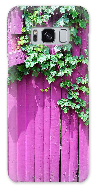 Pink Fence And Foliage Galaxy Case by Mary Bedy