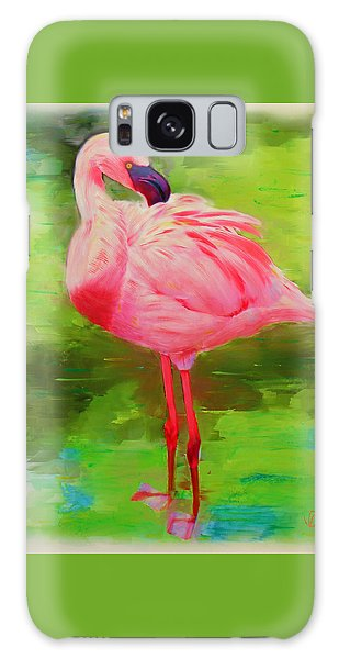 Galaxy Case featuring the painting Pink Flamingo by Deborah Boyd