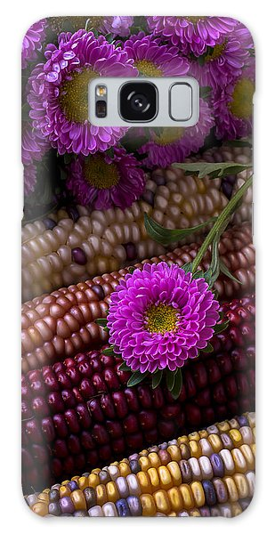 Indian Corn Galaxy Case - Pink Flower And Corn by Garry Gay