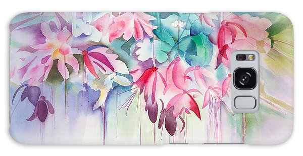 Pink Flowers Watercolor Galaxy Case by Michelle Wiarda