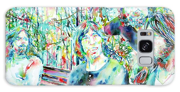Pink Floyd At The Park Watercolor Portrait Galaxy Case by Fabrizio Cassetta