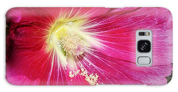 Pink Hollyhock Galaxy Case by Phyllis Denton