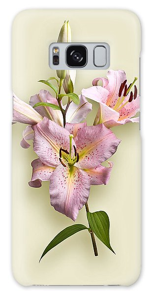 Pink Lilies On Cream Galaxy Case by Jane McIlroy