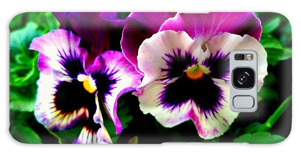 Violet Pansies Galaxy Case by Rose Wang