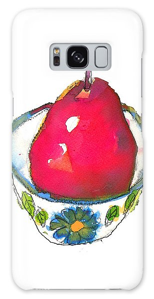 Pink Pear In Floral Bowl Galaxy Case