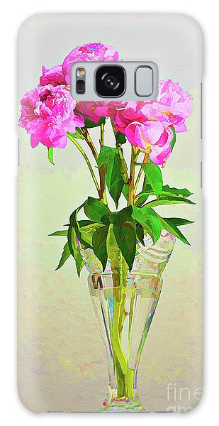 Pink Peony Flowers Galaxy Case by Linda Matlow