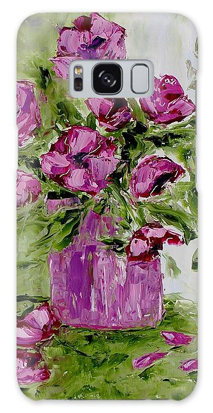Pink Poppies In Pink Vase Galaxy Case