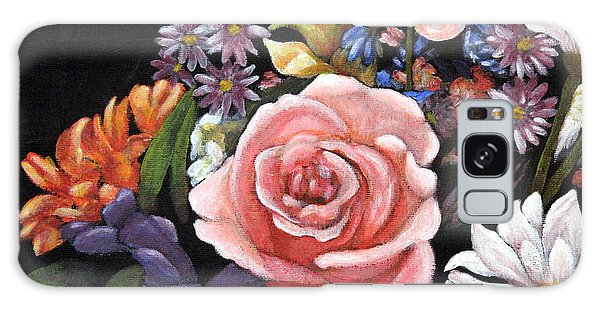 Pink Rose Floral Painting Galaxy Case by Judy Filarecki