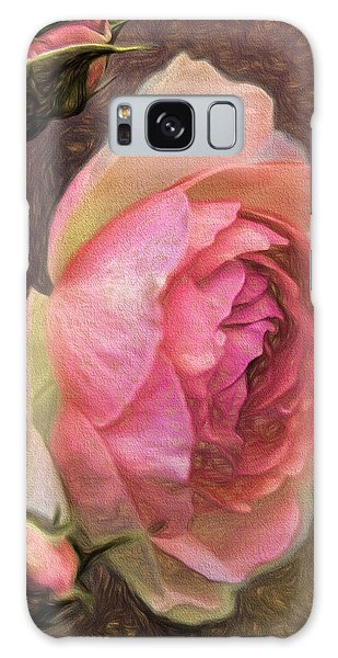 Galaxy Case featuring the photograph Pink Rose Imp 1 - Artistic Pink Rose With Buddies by Leif Sohlman