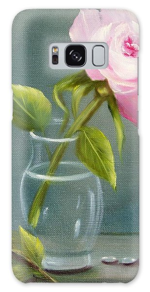 Pink Rose In Glass Galaxy Case