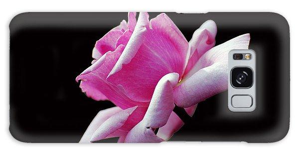 Pink Rose On Black Galaxy Case