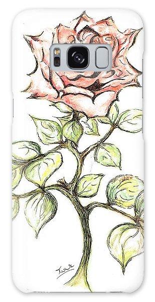 Pink Rose Galaxy Case by Teresa White