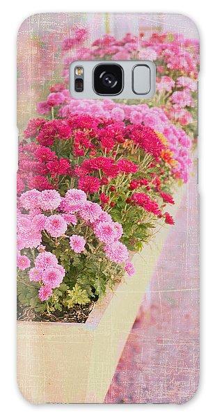 Pink Sidewalk Flowerbox Galaxy Case by Karen Stephenson