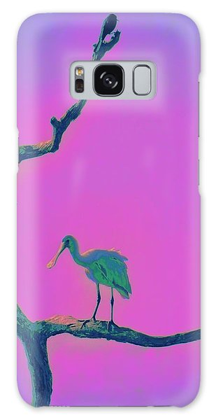 Pink Spoonbill Galaxy Case by David Mckinney