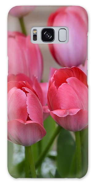 Pink Spring Tulips Galaxy Case by Julie Palencia
