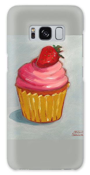 Pink Strawberry Cupcake Galaxy Case by Susan Thomas