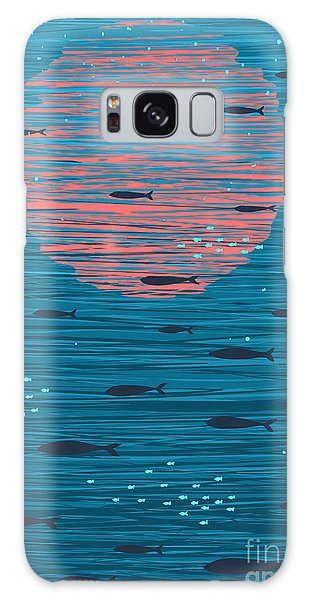 Bright Galaxy Case - Pink Sunset And Fish Underwater Cartoon by Popmarleo