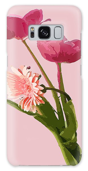 Pink Tulips And Daisy Galaxy Case