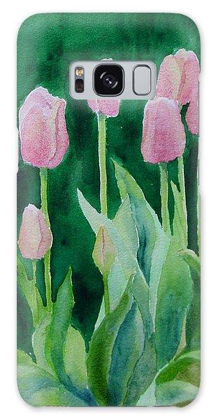 Pink Tulips Colorful Flowers Garden Art Original Watercolor Painting Artist K. Joann Russell Galaxy Case