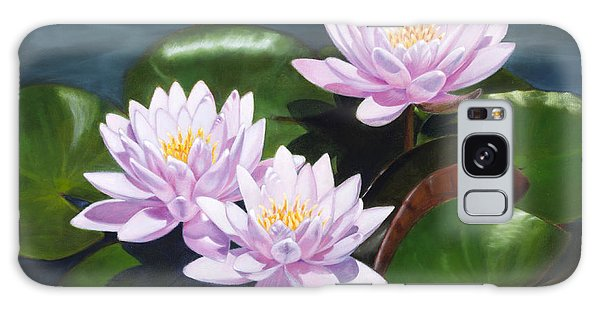 Pink Water Lilies - Oil Painting On Canvas Galaxy Case