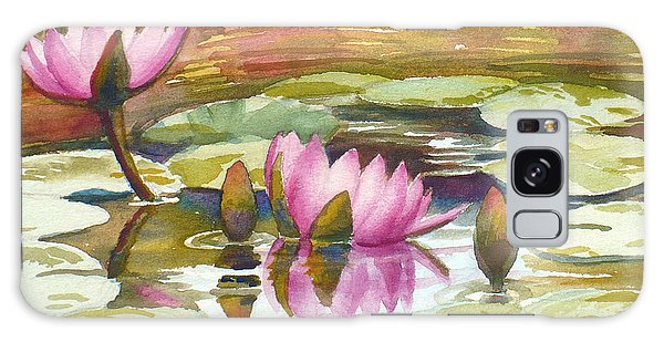 Pink Waterlilies Galaxy Case