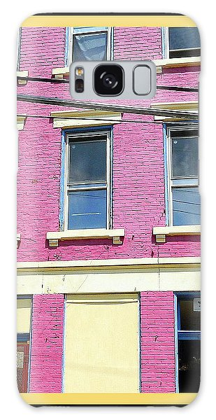 Pink Yellow Blue Building Galaxy Case by Kathy Barney