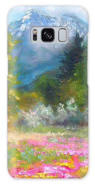 Pioneer Peaking - Flowers And Mountain In Alaska Galaxy Case