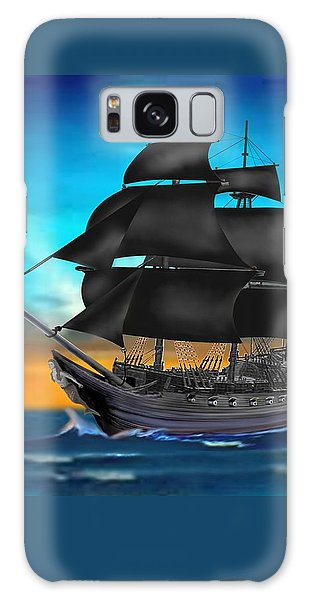 Pirate Ship At Sunset Galaxy Case