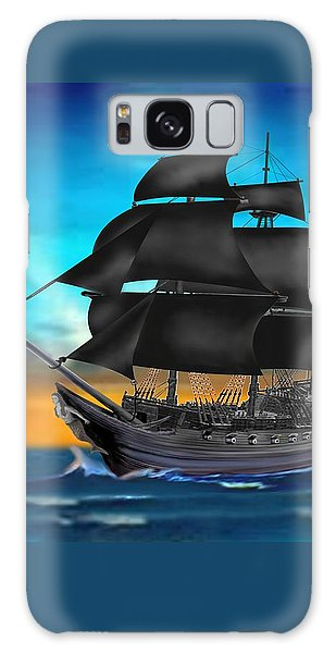Pirate Ship At Sunset Galaxy Case