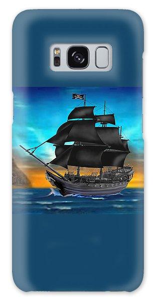 Pirate Ship At Sunset Galaxy Case by Glenn Holbrook