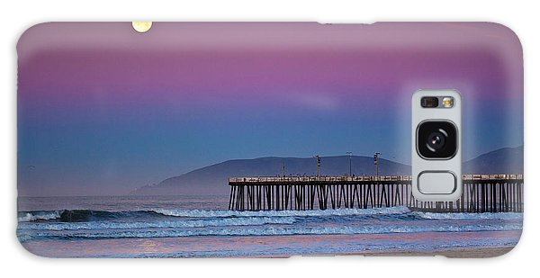 Pismo Beach Moonset At Sunrise Galaxy Case