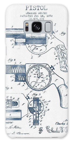 Weapons Galaxy Case - Pistol Patent From 1892 -  Blue Ink by Aged Pixel