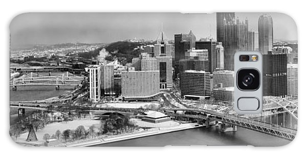 Pittsburgh Black And White Winter Panorama Galaxy Case by Adam Jewell