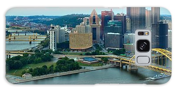 Pittsburgh Panorama At Dusk Galaxy Case by Adam Jewell