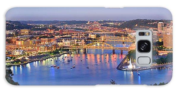 Pittsburgh Pennsylvania Skyline At Dusk Sunset Extra Wide Panorama Galaxy Case