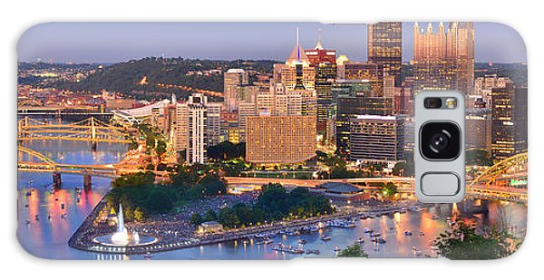 Pittsburgh Pennsylvania Skyline At Dusk Sunset Panorama Galaxy Case by Jon Holiday