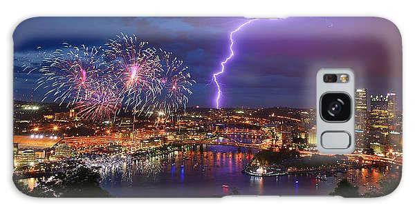 Pittsburgh Pennsylvania Skyline Fireworks At Night Panorama Galaxy Case by Jon Holiday