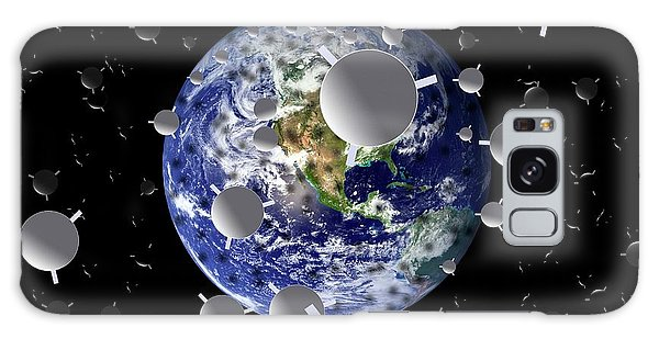 Scientific Illustration Galaxy Case - Planet Earth With Mirrors In Space by Victor De Schwanberg