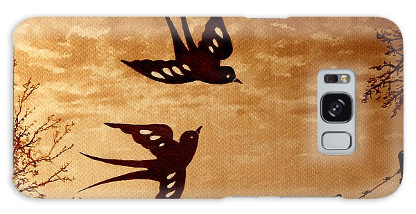Galaxy Case featuring the painting Playful Swallows Original Coffee Painting by Georgeta  Blanaru